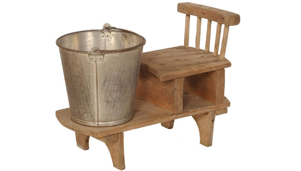 Canadian Dairying - Milking stool and pail